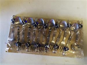 Blue gem mini fork and teaspoon set