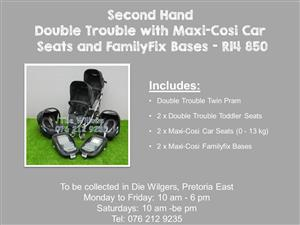 Second Hand Double Trouble with Maxi-Cosi Car Seats, FamilyFix Bases and Carry Cots