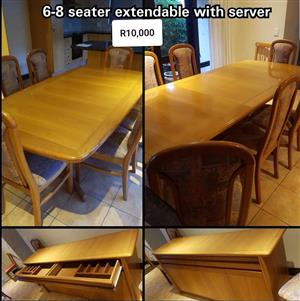 6-8 Seater extendable dining set