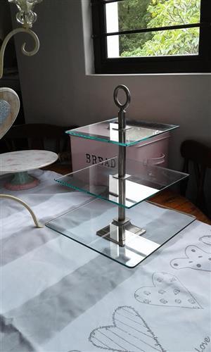 3 Tier glass square shelf